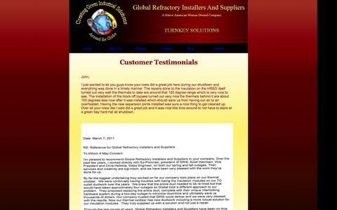 Screenshot of Testimonials Page globalrefractory.com - GRIS is your total worldwide refractory and construction solution for your industrial needs - captured Oct. 2, 2014