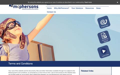 Screenshot of Terms Page mcphersons.co.uk - Terms and Conditions - McPhersons: Chartered Accountants in Bexhill and Hastings - captured Oct. 19, 2018