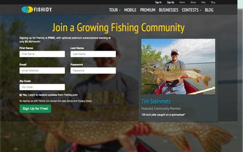 Screenshot of Signup Page fishidy.com - Sign up for Free and Start Catching More Fish | Fishidy - captured Oct. 29, 2015