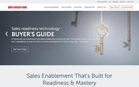 Screenshot of brainshark.com - Sales Enablement & Readiness Software | Brainshark - captured Jan. 17, 2018