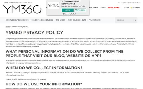 Screenshot of Privacy Page youthministry360.com - YM360 Privacy Policy  | youthministry360 - captured June 19, 2017