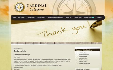 Screenshot of Testimonials Page cardinalleisure.co.za - Cardinal Safari's   Safari Lodges   Cardinal Leisure - captured Oct. 22, 2014