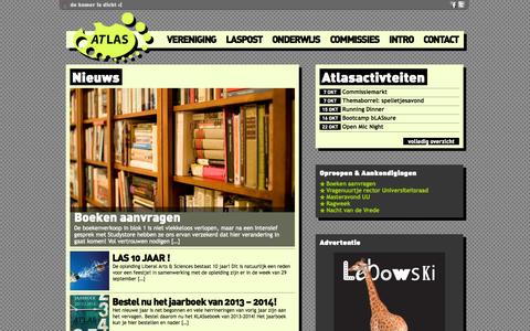 Screenshot of Home Page usatlas.nl - Studievereniging Atlas - captured Oct. 6, 2014