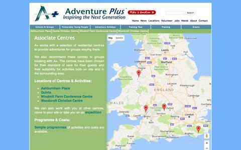 Screenshot of Locations Page adventureplus.org.uk - Associate Centres | Adventure Plus - captured Nov. 20, 2016