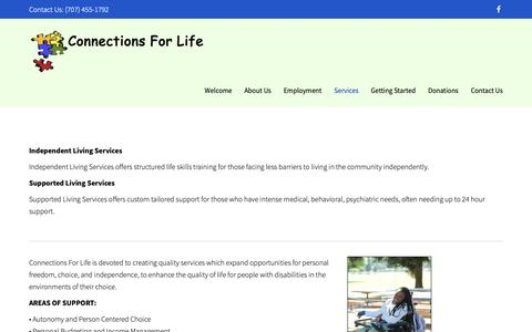 Screenshot of Services Page connections4life.org - Services | Connections For Life - captured Dec. 15, 2018