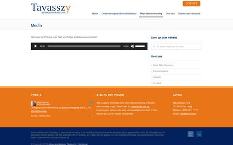 Screenshot of Press Page tavasszy.nl - Media - Advocatenkantoor Tavasszy - captured Oct. 3, 2018
