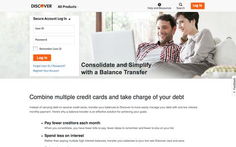 Consolidate Your Debt with a Balance Transfer | Discover