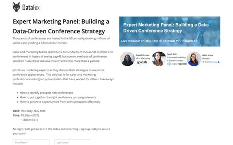 Screenshot of Landing Page datafox.com - Expert Marketing Panel:Building a Data-Driven Conference Strategy - captured May 25, 2017