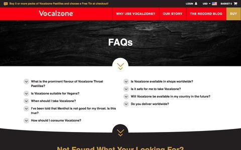 Screenshot of FAQ Page vocalzone.com - FAQs - Vocalzone - captured Oct. 17, 2017
