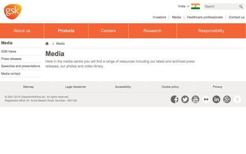 Screenshot of Press Page gsk.com - Media | GSK India - captured Sept. 3, 2016