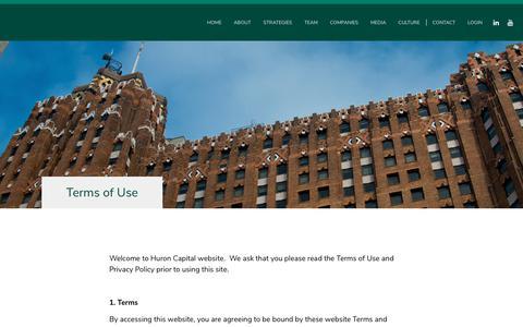 Screenshot of Terms Page huroncapital.com - Terms of Use – Huron Capital - captured Sept. 30, 2018