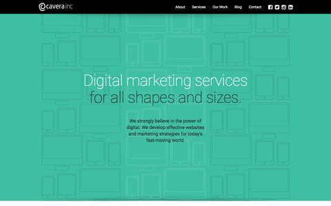 Screenshot of Services Page cavera.ca - Services - Cavera Inc. - captured Jan. 26, 2016