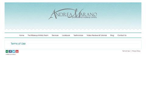 Screenshot of Terms Page andreamarano.com - Terms of Use - Andrea Marano Professional Makeup Artistry - captured Jan. 22, 2016