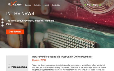 Screenshot of Press Page payoneer.com - In the News | Payoneer USA - captured July 3, 2016
