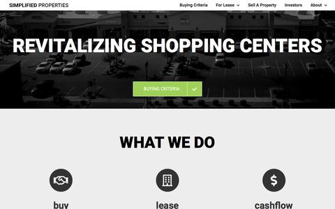 Screenshot of Home Page simplifiedproperties.com - Simplified Properties – Revitalizing Shopping Centers - captured Aug. 23, 2019