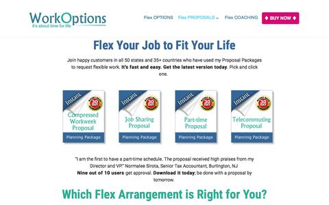 Screenshot of workoptions.com - Flexible Work Proposal Template Packages - captured Nov. 24, 2017