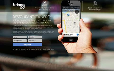 Screenshot of Landing Page bringg.com - Bringg - Food and Restaurant Delivery Software - captured Oct. 27, 2014