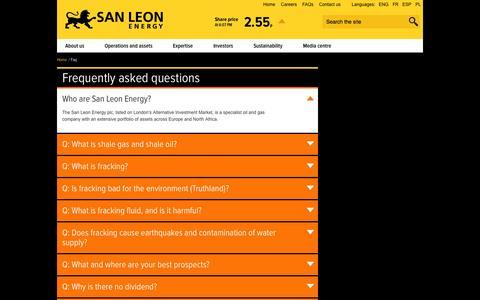 Screenshot of FAQ Page sanleonenergy.com - FAQ | San Leon Energy - captured Oct. 3, 2014