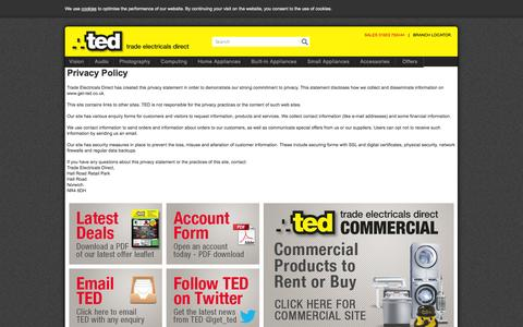 Screenshot of Privacy Page get-ted.co.uk - Trade Electricals Direct - captured Oct. 5, 2014