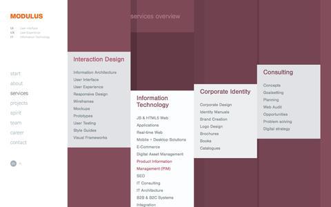 Screenshot of Services Page modulus.eu - MODULUS services - web design, web application, UI/UX Design, IxD - captured Dec. 1, 2016