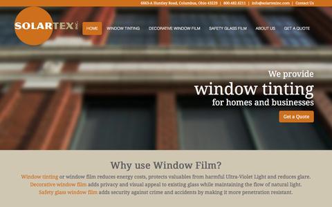 Screenshot of Home Page solartexinc.com - Window film columbus, window tinting - Solartex, Inc. - captured Oct. 9, 2014