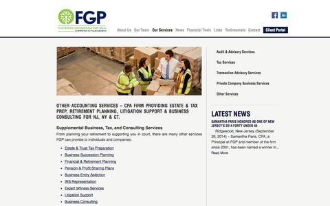 Screenshot of Services Page fgpcpa.com - Business Tax & Consulting, Estate & Tax Prep & Retirement Planning | NJ, NY & CT | Flackman, Goodman & Potter FGP - captured Oct. 6, 2014