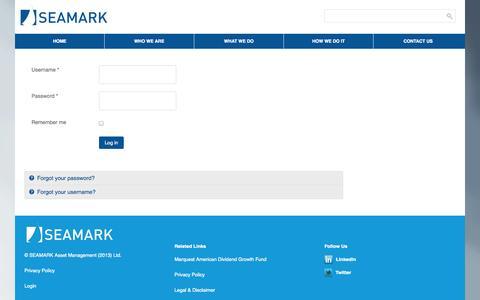 Screenshot of Login Page seamark.ca - Login - SEAMARK Asset Management Ltd - captured Nov. 2, 2014