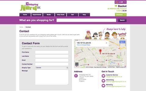 Screenshot of Contact Page shoppingnerd.co.uk - Contact   Shopping Nerd UK - captured Sept. 30, 2014