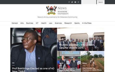 Screenshot of Press Page mak.ac.ug - Makerere University News Portal | News & Announcements for Makerere Community - captured Nov. 19, 2016