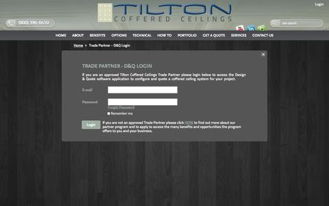 Screenshot of Login Page tiltoncofferedceilings.com - Design & Quote Software Internal | Coffered Ceiling System | TiltonCofferedCeilings.com | Luxury Decorative Ceiling Treatments | Ceiling Kit Cost | Wood Ceiling Moulding | Box Beam Ceiling | Tray Ceiling Systems - captured Oct. 7, 2014