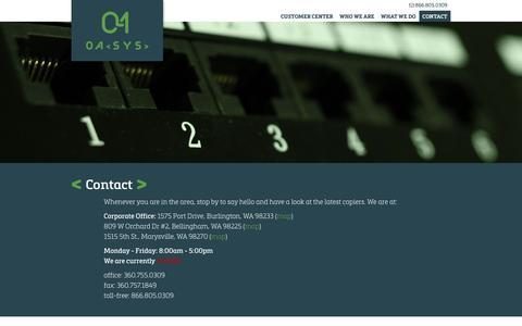 Screenshot of Contact Page oasysinc.com - Contact OASYS - Burlington, Washington - captured Dec. 6, 2016