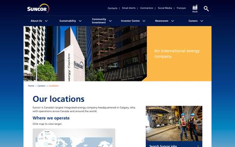 Screenshot of Locations Page suncor.com - Locations – Careers - Suncor - captured Sept. 26, 2018