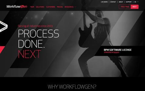 Screenshot of Home Page workflowgen.com - Home - WorkflowGen - Business Process Management (BPM) Software - .net Workflow Software - captured Sept. 19, 2014