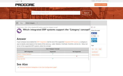 Which integrated ERP systems support the 'Category' concept? - Procore