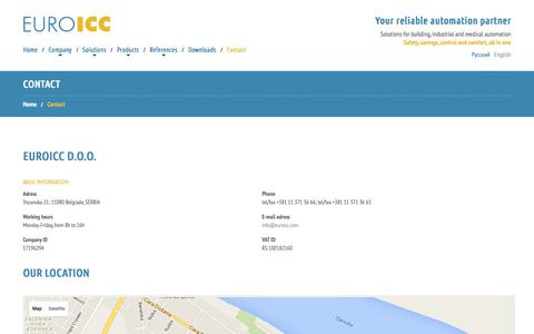 Screenshot of Contact Page euroicc.com - Contact - EUROICC - captured July 10, 2016