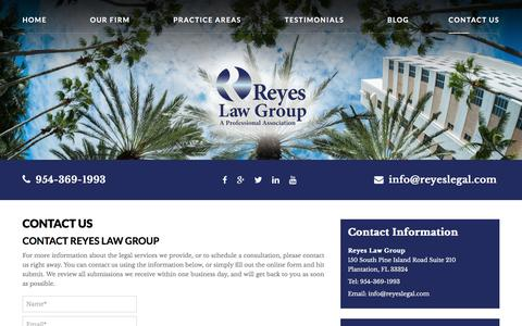 Screenshot of Contact Page reyeslegal.com - Contact Us - Reyes Law Group - captured Nov. 30, 2016