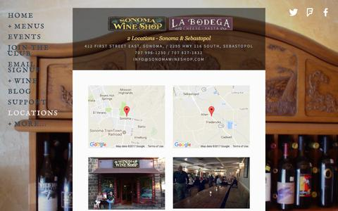 Screenshot of Locations Page sonomawineshop.com - Locations — Sonoma Wine Shop & La Bodega - captured Oct. 22, 2017