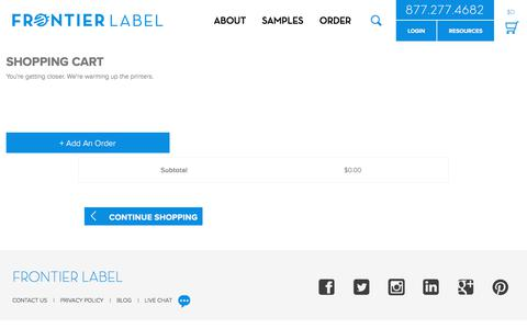 Screenshot of Menu Page frontierlabel.com - Frontier Label Shopping Cart - captured Aug. 30, 2018