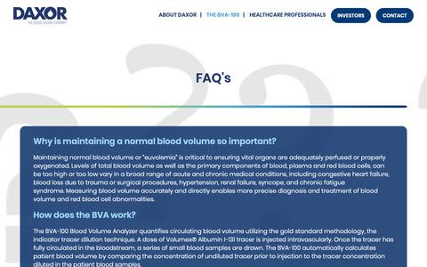 Screenshot of FAQ Page daxor.com - FAQ's | Daxor - captured Nov. 13, 2018