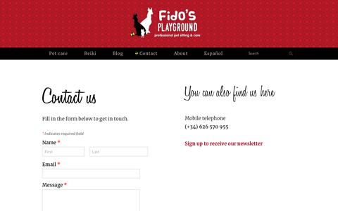 Screenshot of Contact Page fidosplayground.com - Contact - FIDO'S PLAYGROUND - captured Aug. 13, 2018