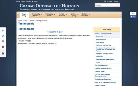 Screenshot of Testimonials Page chabadoutreach.org - Testimonials - Chabad Outreach of Houston - captured Sept. 27, 2018
