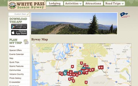 Screenshot of Maps & Directions Page whitepassbyway.com - Byway Map - White Pass Scenic Byway - captured Oct. 25, 2017