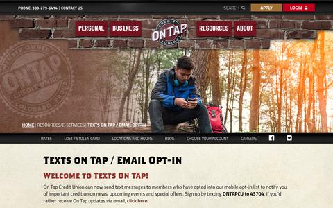 Screenshot of Signup Page ontapcu.org - Texts on Tap and Email Opt In - captured July 10, 2018