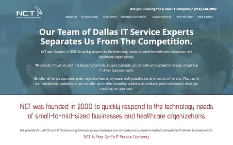 Screenshot of About Page nctnet.net - Our Team of Dallas IT Service Experts Separates Us From The Competition. - NCT - captured Feb. 8, 2016