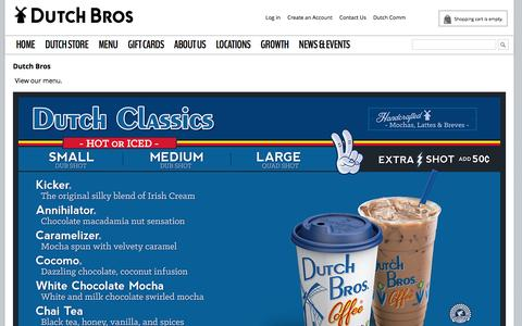 Screenshot of Menu Page dutchbros.com - Menu - captured Feb. 9, 2016