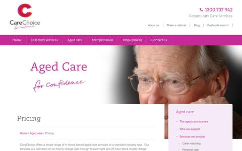 Screenshot of Pricing Page carechoice.net.au - Pricing, aged care | CareChoice - captured Oct. 22, 2014