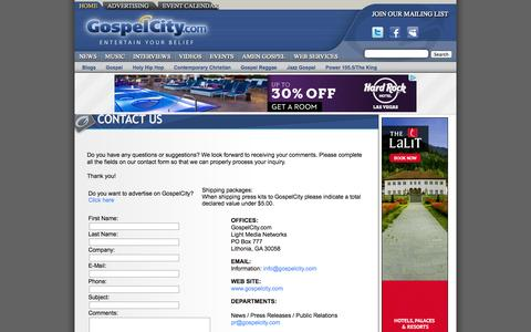 Screenshot of Contact Page gospelcity.com - Gospel Music - CONTACT US - GospelCity - captured Oct. 3, 2014