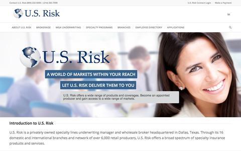 U.S. Risk   Underwriting Manager & Wholesale Broker - U.S. Risk