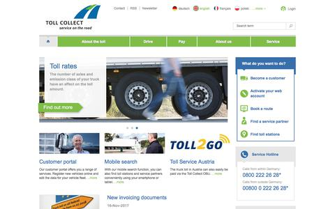 Screenshot of Home Page toll-collect.de - Toll Collect | Truck toll in Germany - captured Nov. 20, 2017