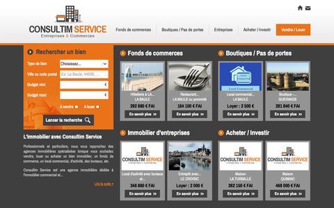 Screenshot of Home Page consultim-service.com - Agence immobilière La Baule, ventes et locations commerces et immobilier d'entreprises. La Baule, Guérande - Consultim Service - captured Sept. 26, 2014
